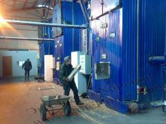 Service of boiler rooms and water-heating solid