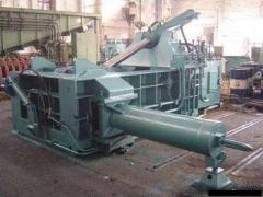 Press scissors, loading crane, briquetting press,