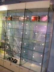 Complex equipment of shops: racks, show-windows,