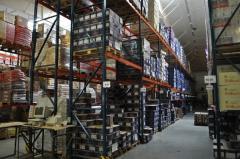 Услуги складские. Управление и дистрибуция грузов, все виды движения на таможенном складе, погрузочно-разгрузочные услуги, дробление партий груза, сортировка, упаковка, переупаковка и маркировка товаров.