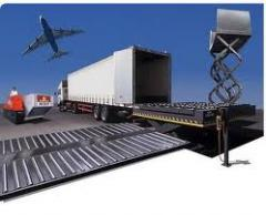 Transfer of freights from one type of transport on