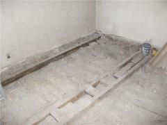Works on laying of wooden floors