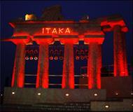 Illumination of facades of buildings in Kiev