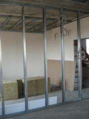 Installation of partitions from gypsum cardboard