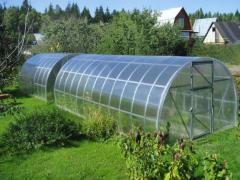 Construction of greenhouses from sitema of