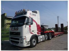 Delivery of excavators, loaders, combines,