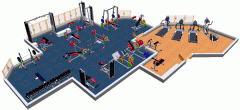 Equipment of gyms. Equipment of clubs. 3D