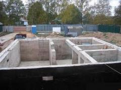 Construction of the bases, laying of walls,