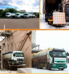 Перевозка зерна зерновоз 40 т, муковозы 15, 30 т.