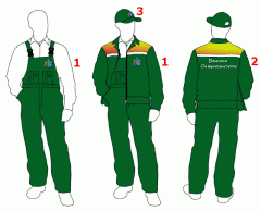 Embroidery and drawing company logos on overalls