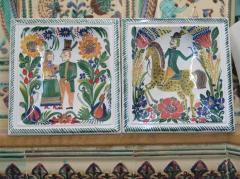 Painted tile of handwork