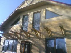 Production and installation of wooden houses,