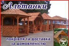 Arbors, fellings, wooden houses and other designs