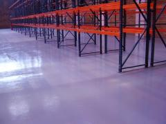 Polymeric color of floors, dedusting of the