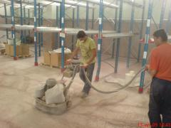 Polishing of floors concrete, DUST REMOVAL of a