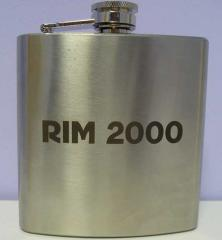 Laser engraving on souvenir products flasks,...