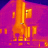 Thermovision inspection of furnaces, fireplaces,