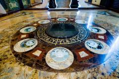 Facing of walls, floor marble, granite, onyx