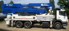 Services of the concrete pump 36 of m in Kiev at
