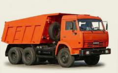 Services of dump trucks, the dump truck for ren