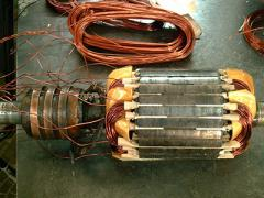Repair of crane electric motors.