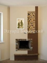 Laying and finishing of an angular fireplace