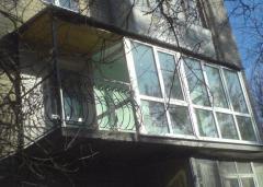 Glazing of balconies, French balcony, glazing of