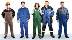 Sewing of workwear,  clothing for hunting, ...