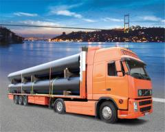 Transportation of pipes, transportation of goods
