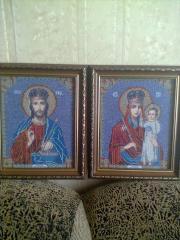Вышивка картин Пара Господь Вседержитель и МБ Призри на смирение