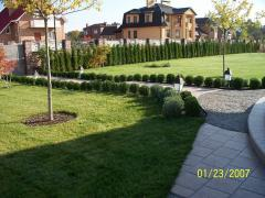 Rolled lawn, gardening, systems of watering
