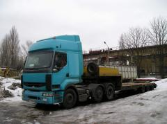 Road haulage of special equipment (trawl)