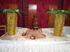 Шоколадный фонтан, фруктовая пальма
