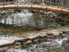 Проектирование и строительство садовых водоемов и пешеходных мостиков.