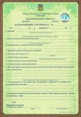 Phytosanitary certificate, quarantine certificate