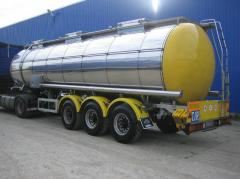 Transportation of goods in automobile tanks
