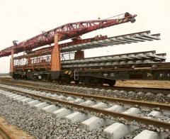 Puteukladka of railroad tracks in Ukraine