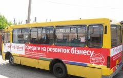 Advertizing on boards of minibuses, buses,