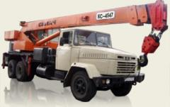 The truck crane for rent, services of the truck