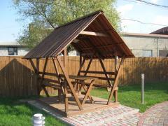 Construction, installation of wooden arbors