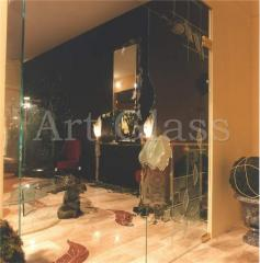 Decor of interiors from glass and a stone
