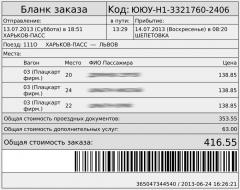 Украинские жд билеты (Укрзалізниця)