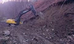 Rent of the caterpillar excavator with ground