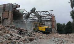 Dismantling works caterpillar the excavator with a