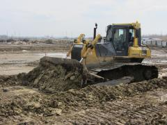 Shore protection operation of the bulldozers