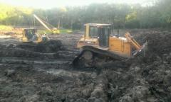 Bank protection of bulldozers and excavator