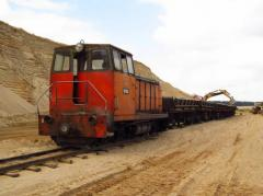 Transport logistics. Sand delivery by rail