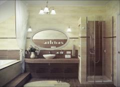 Design of bathrooms. Three bathrooms in the