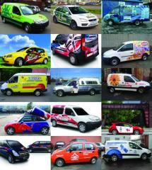 Branding (pasting) of transport, cars, special
