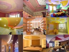 Покраска стен, потолков внутри и снаружи